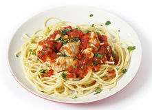 Spaghetti with fish in arrabbiata sauce Stock Images