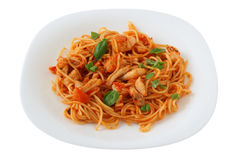 Spaghetti with fish and basil Stock Image
