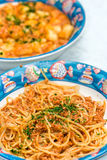Spaghetti with Fish bolognese Stock Images
