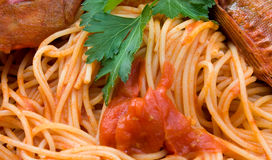Spaghetti With Fish - Closeup Stock Images