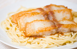 Spaghetti with fish Stock Photos