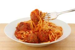 Spaghetti-Fleischklöschen Stockfotografie