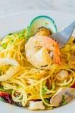 Spaghetti. Focus on shrimp in spagetthi dish Stock Photos
