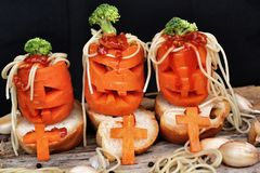 Spaghetti food in halloween Royalty Free Stock Photos