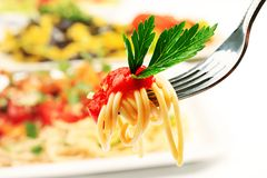 Spaghetti on a fork Royalty Free Stock Image