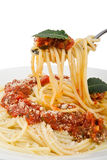 Spaghetti on fork. Spaghetti and red sauce on fork Stock Photos