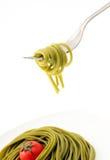 spaghetti on fork Stock Photography