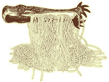 Spaghetti and fork. Vector drawing: spaghetti and Royalty Free Stock Photography
