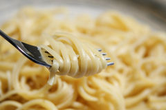 Spaghetti on fork Royalty Free Stock Image
