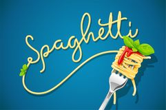Spaghetti at fork with basil and sauce. Stock Photo
