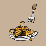 Spaghetti. And fork cartoon vector Stock Images