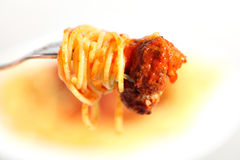 Spaghetti fork and meatball horizontal Stock Photos