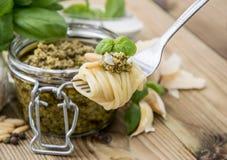 Spaghetti on fork with Pesto Stock Photos