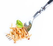Spaghetti on a Fork (with Pesto) Royalty Free Stock Images