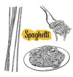 Spaghetti on fork and plate. Vector vintage black illustration  on white background Stock Images