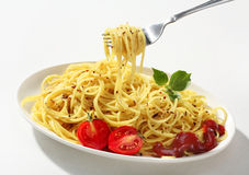 Spaghetti on a fork Stock Photography