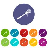 Spaghetti on a fork set icons Stock Photography