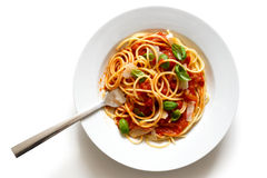 Spaghetti with fork, tomato sauce, fresh basil and cheese. Isola Stock Photography
