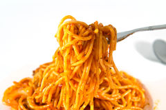 Spaghetti on fork Stock Images