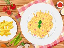 Spaghetti and frenchfries on the table. Illustration Royalty Free Stock Photos