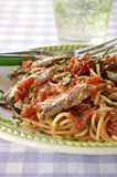 Italian food. Spaghetti with fresh anchovies Royalty Free Stock Photos