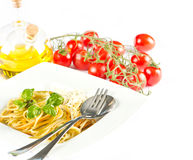 Spaghetti with fresh basil and parmesan Royalty Free Stock Image