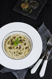 Spaghetti with fresh black truffle Stock Image