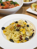 Spaghetti with fresh clams Stock Photos