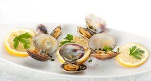 Spaghetti with fresh clams, garlic and parsley Royalty Free Stock Photo