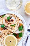 Spaghetti with fresh clams Stock Photo