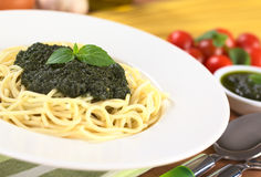 Spaghetti with Fresh Pesto Stock Photography