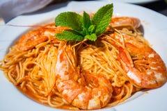 Spaghetti with fresh prawns Royalty Free Stock Photo