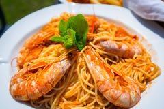 Spaghetti with fresh prawns Stock Photos