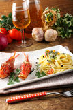 Spaghetti with fresh seafood broth Royalty Free Stock Images