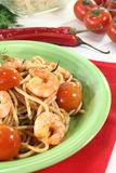 Spaghetti with fresh shrimp Stock Image