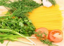 Spaghetti and fresh vegetables Stock Image