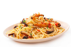 Spaghetti with fried eggplant and tomatoe Stock Images
