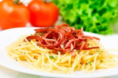 Spaghetti with fried ham Royalty Free Stock Image