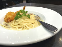 The spaghetti fried shrimp Stock Photos
