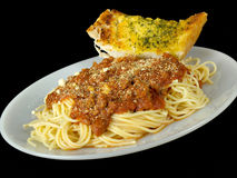 Spaghetti and Garlic Bread Stock Photo