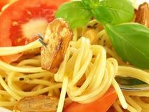 Spaghetti with garlic, closeup Stock Photos