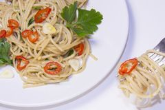 Spaghetti garlic, hot pepper,olive oil , Spaghetti aglio, olio,. Peperoncino Italian  mediterranean food Royalty Free Stock Image