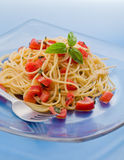Spaghetti with Garlic and Oil Stock Photos