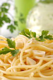 Spaghetti with garlic and oil Stock Image