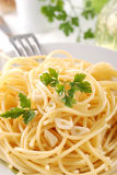 Spaghetti with garlic and oil Royalty Free Stock Photo