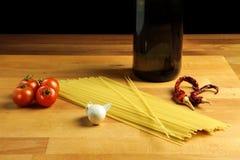 Spaghetti garlic oil and chili pepper italian pasta recipe Royalty Free Stock Image