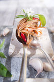Spaghetti with garlic, oil and chili Royalty Free Stock Photography