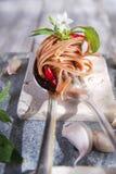 Spaghetti with garlic, oil and chili Stock Photo