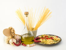 Spaghetti, garlic, olive oil, red pepper Royalty Free Stock Photo