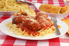 Spaghetti and garlic toast Stock Photos